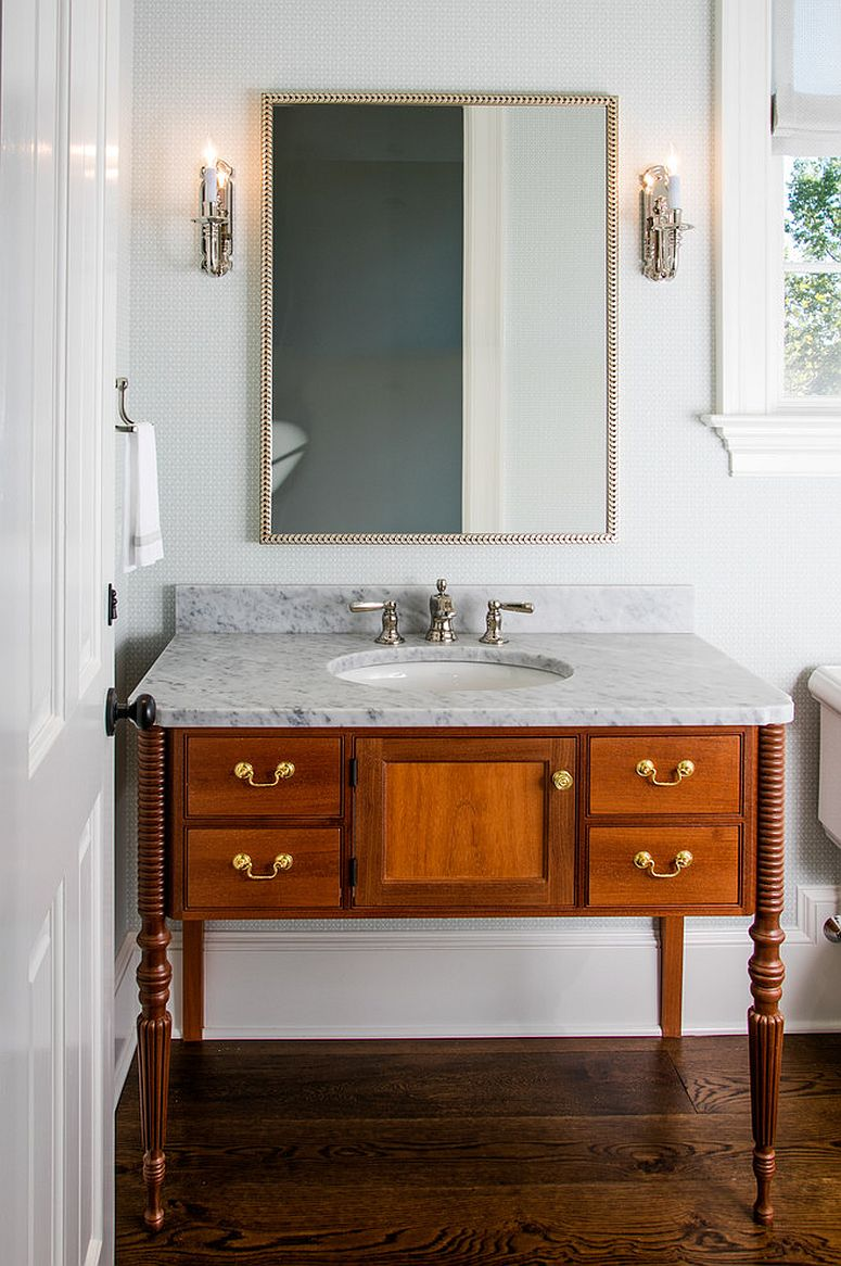 Converting the old dresser into a beautiful vanity