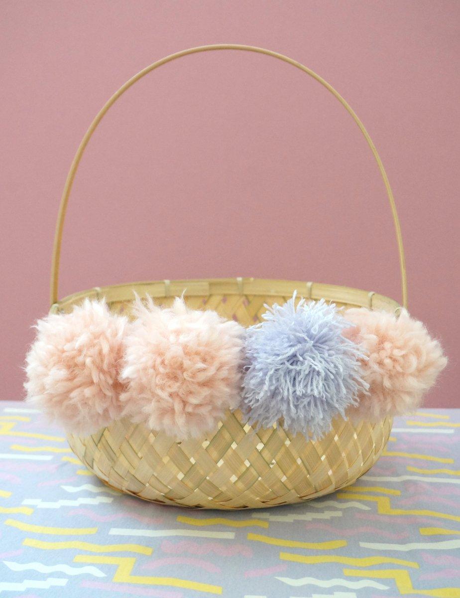 DIY Easter basket with pom poms