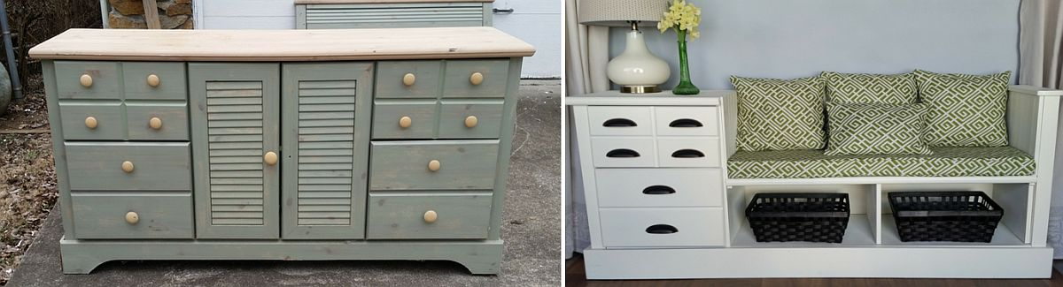 Dresser turned into a lovely entryway bench