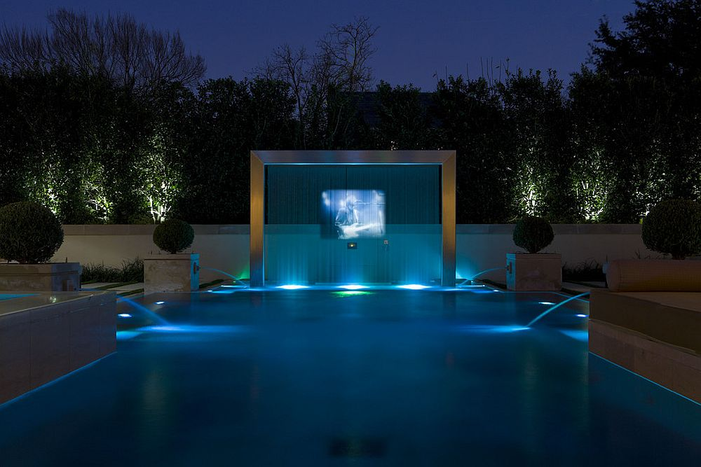 Modern pool with TV and a screen of flowing water