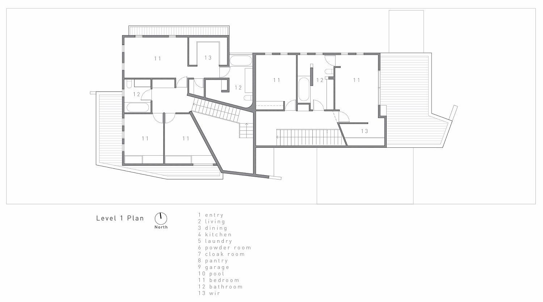 Upper level floor plan of the house