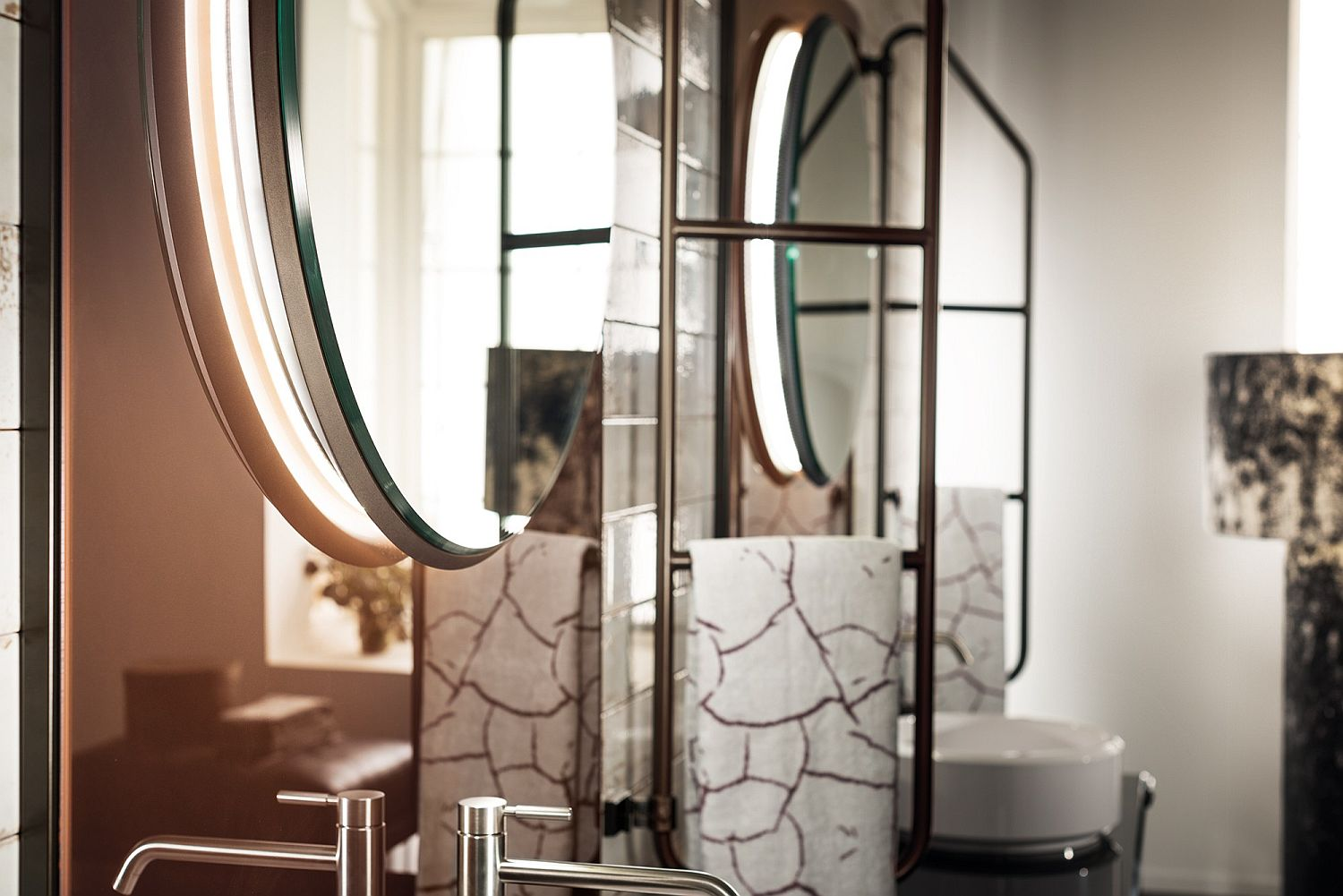 Closer look at the copper patina backsplash and lovely mirrors inside the bathroom