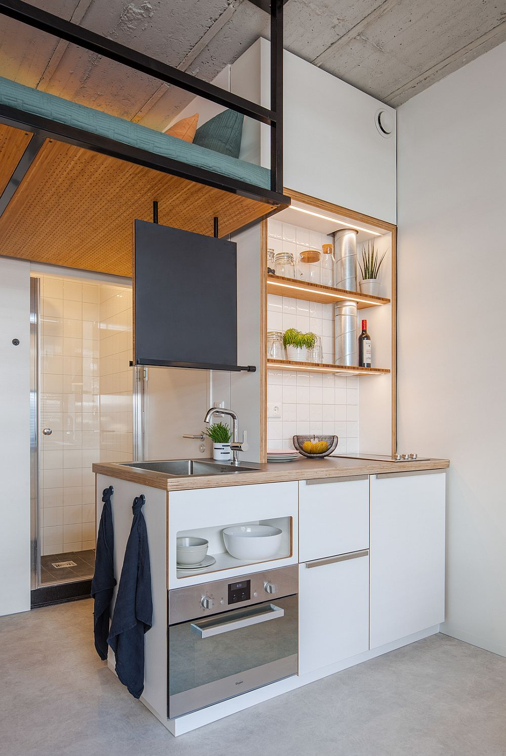 Ultra-tiny kitchen and bathroom next to one another