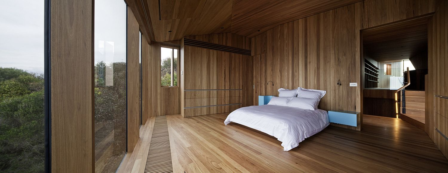 Bedroom with a view of the distant rugged coastline