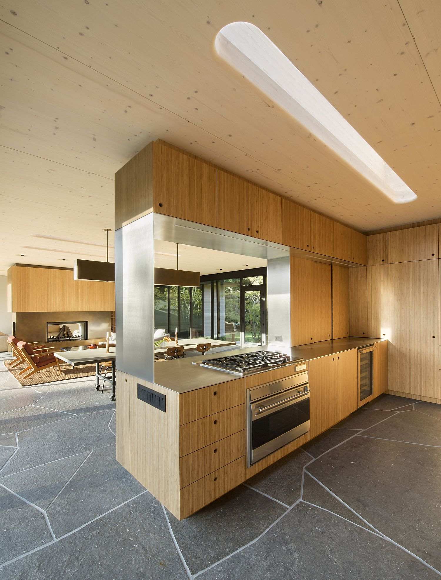 Open plan living with kitchen and dining area