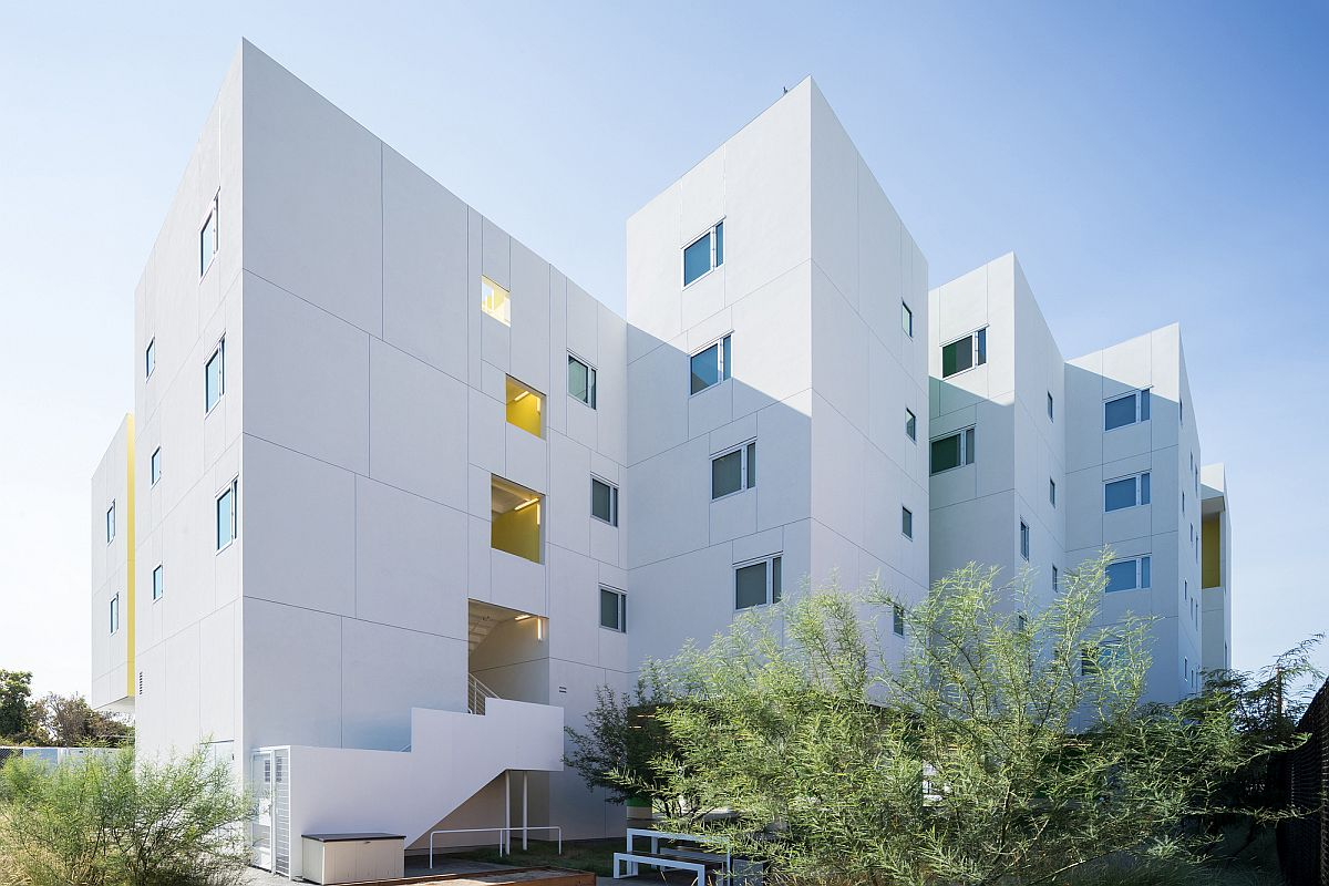 White and minimal exterior of the Crest Apartments