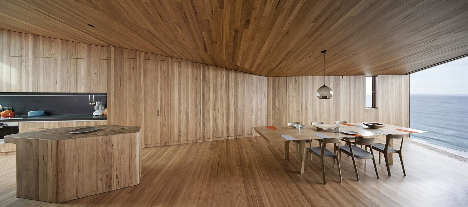 Woodsy and modern interior of the beach house