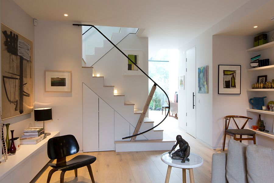 Simple and space-savvy storage idea for the small nook under the stairway