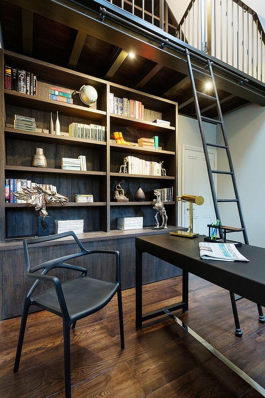 Bookshelf for the home office under the mezzanine level