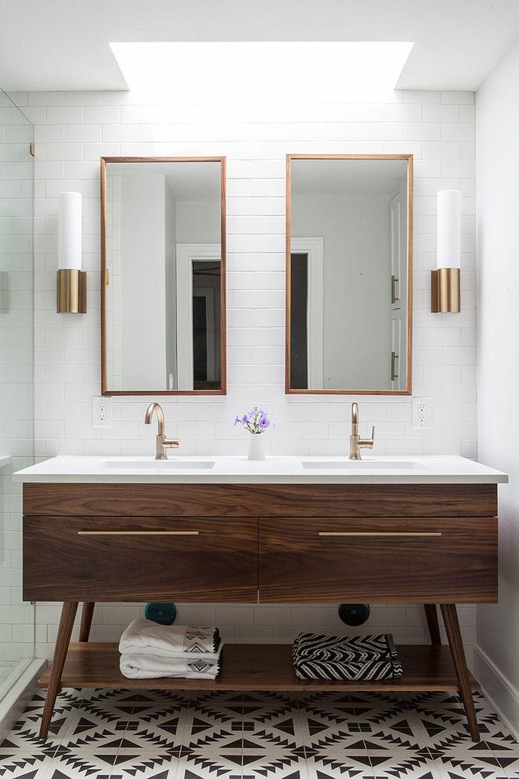 Custom wooden vanity for the midcentury modern bathroom