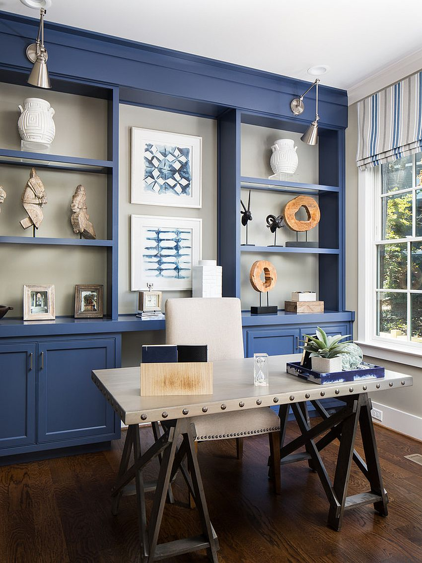Gorgeous use of blue inside the charming modern office