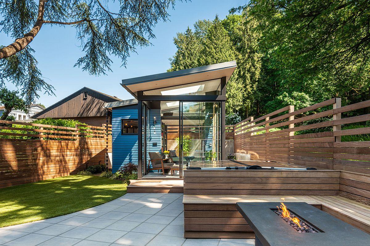 Modern shed-styled backyard reading retreat