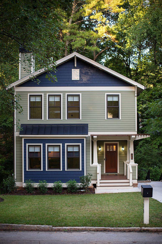 Navy blue and gray for the exterior creates a show-stopping facade!
