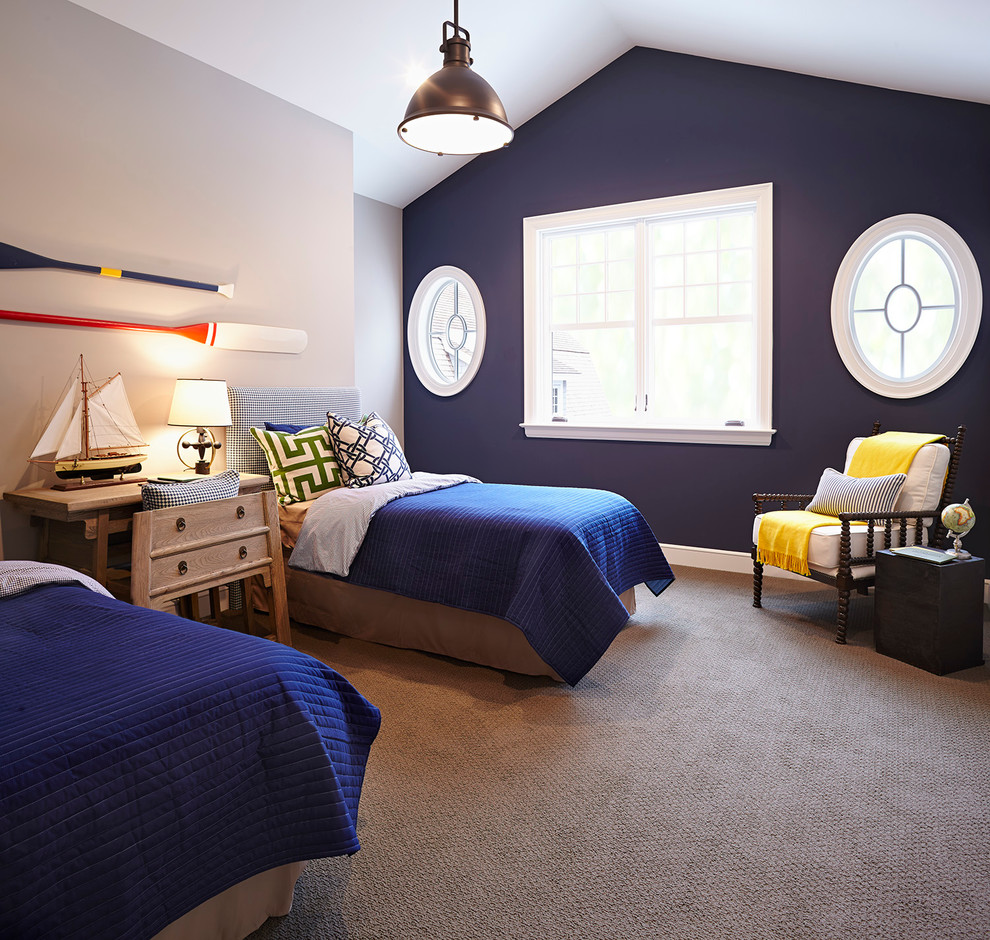 Polished use of navy blue in the beach style bedroom