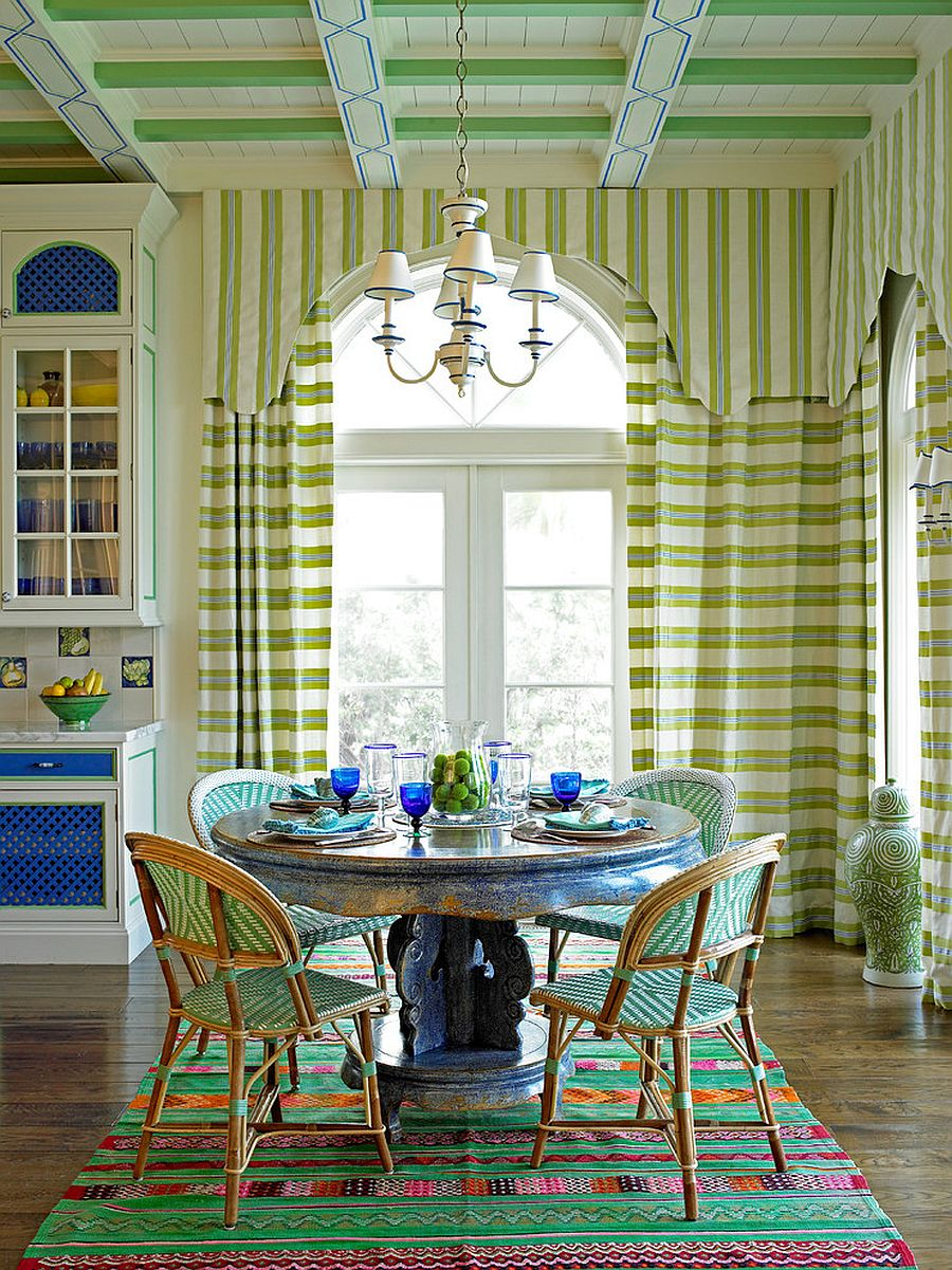 Striped green beauty for the Mediterranean style dining room