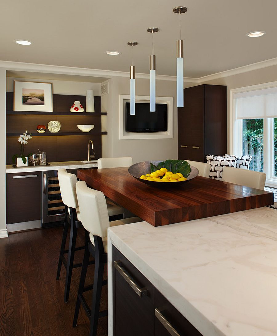 Wooden block brings warmth to the contemporary kitchen