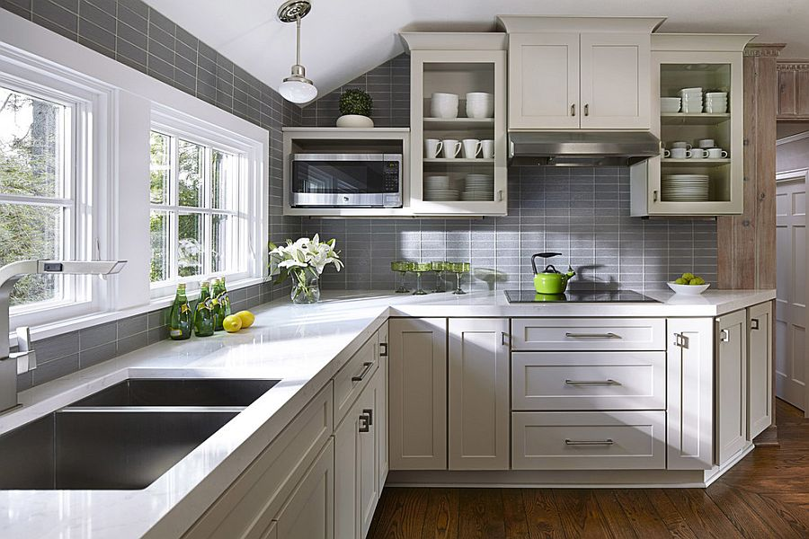 Using gray and white in the small kitchen