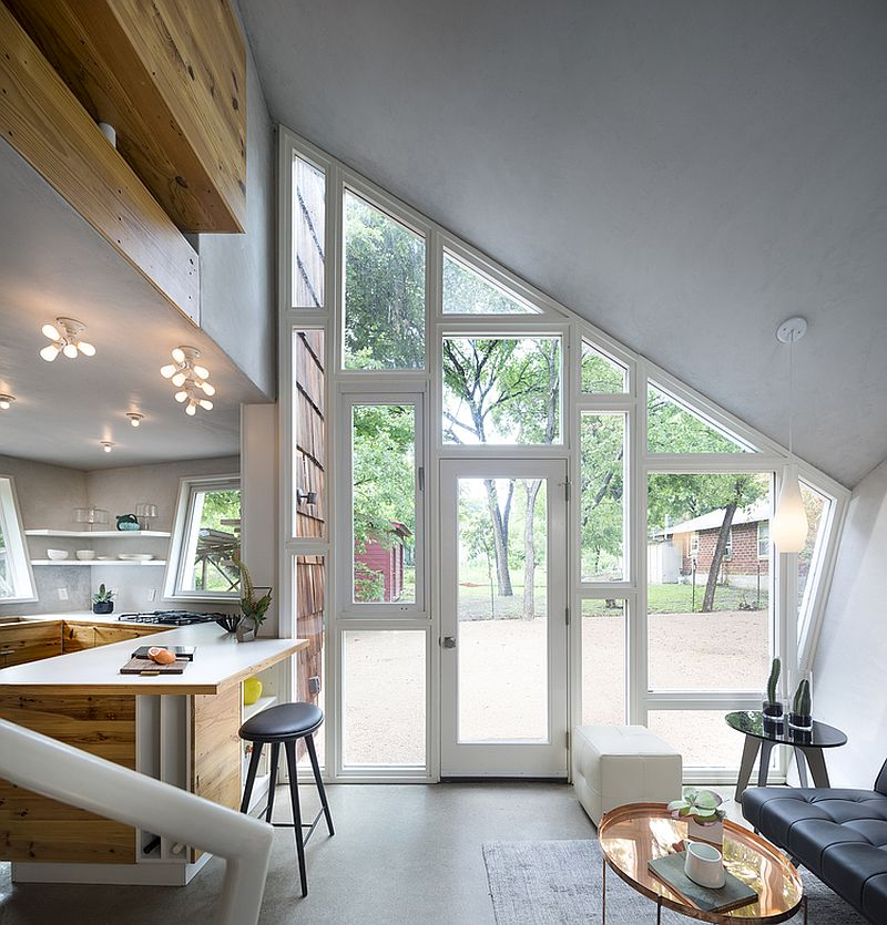 Angled walls create a unique and light-filled interior