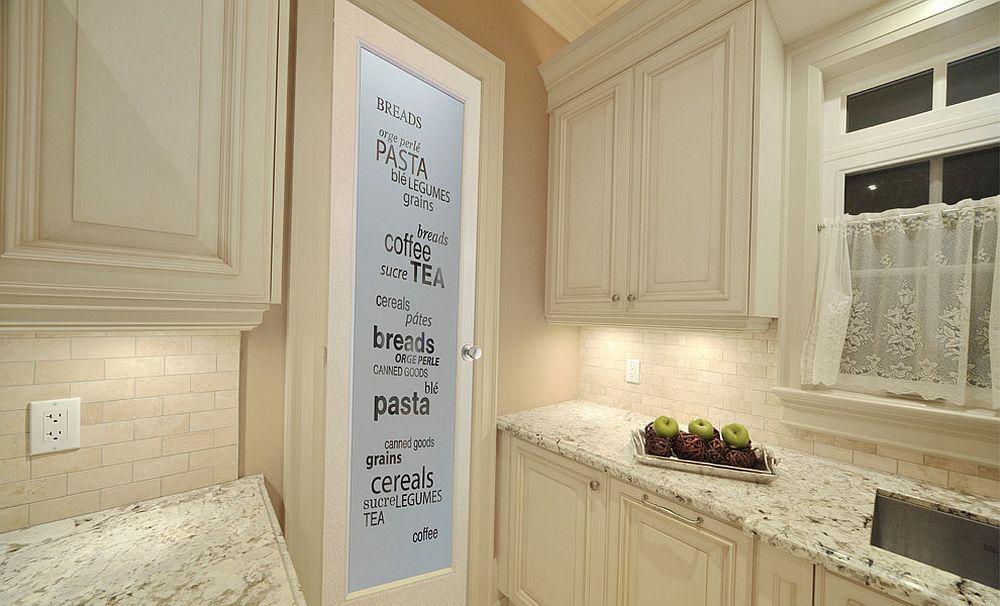 Glass pantry door with print
