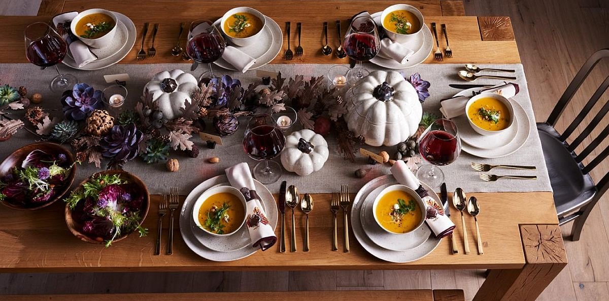 Pumpkin themed tableware and serveware is perfect for the Thanksgiving table