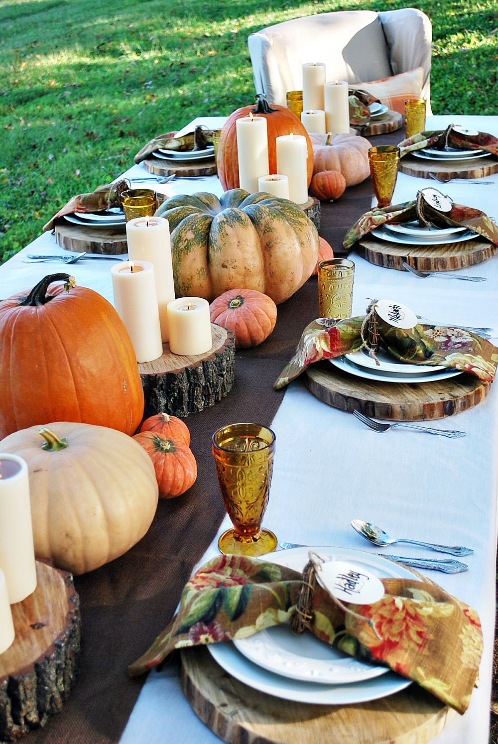 Rustic Thanksgiving table idea with an overload of pumpkins
