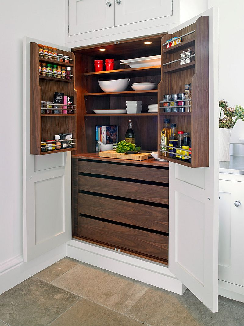 Turn part of your kitchen shelving into pantry for a more organized interior