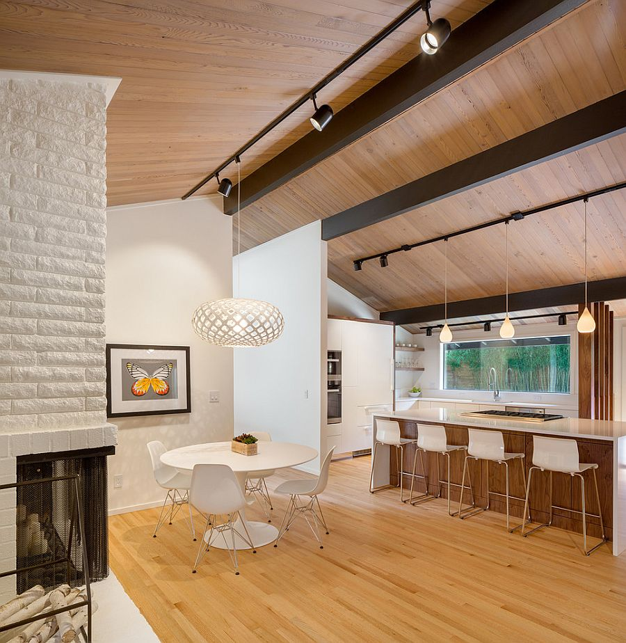 Midcentury modern dining room with decor in white
