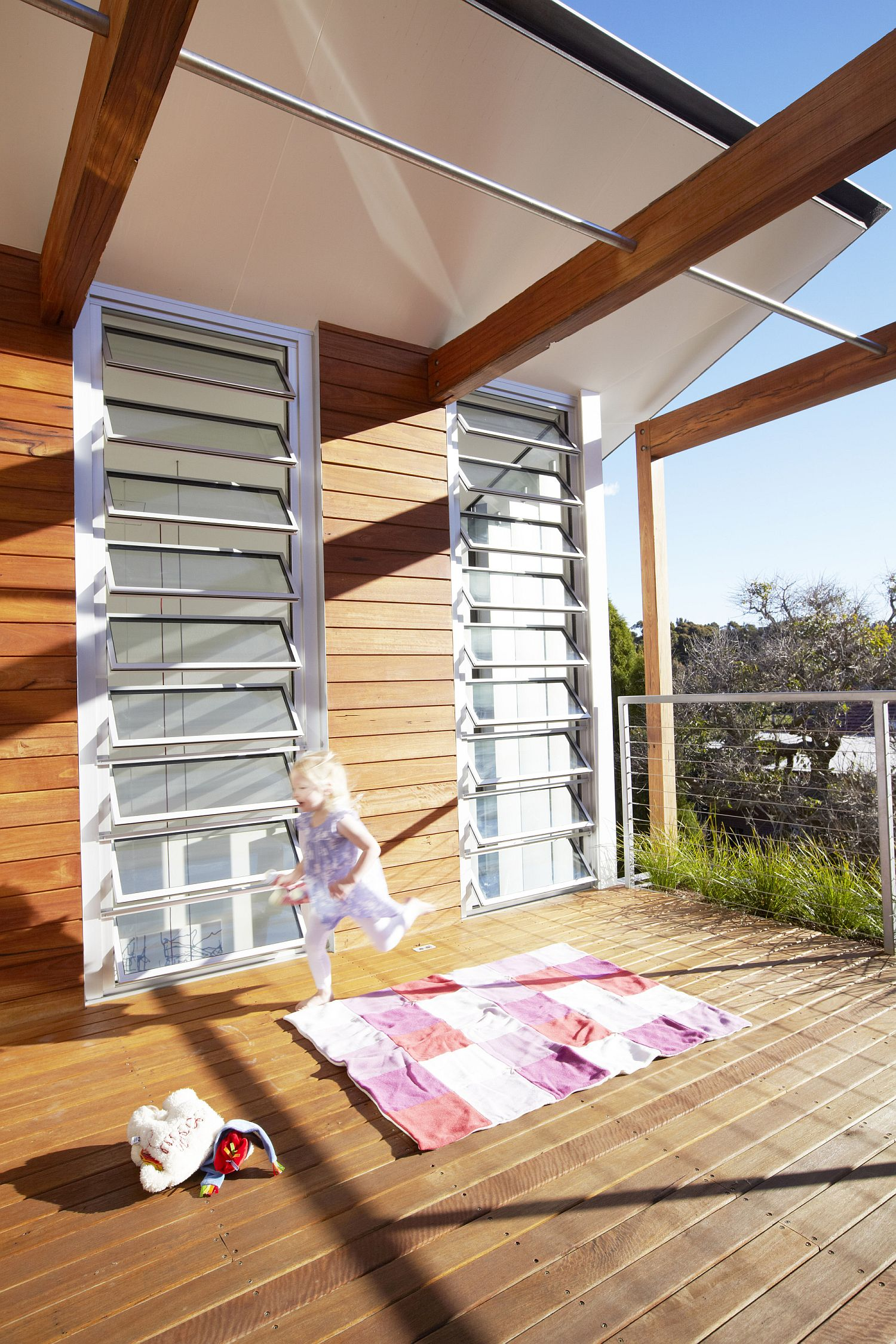 Moving roof offers shade to those on the deck when needed