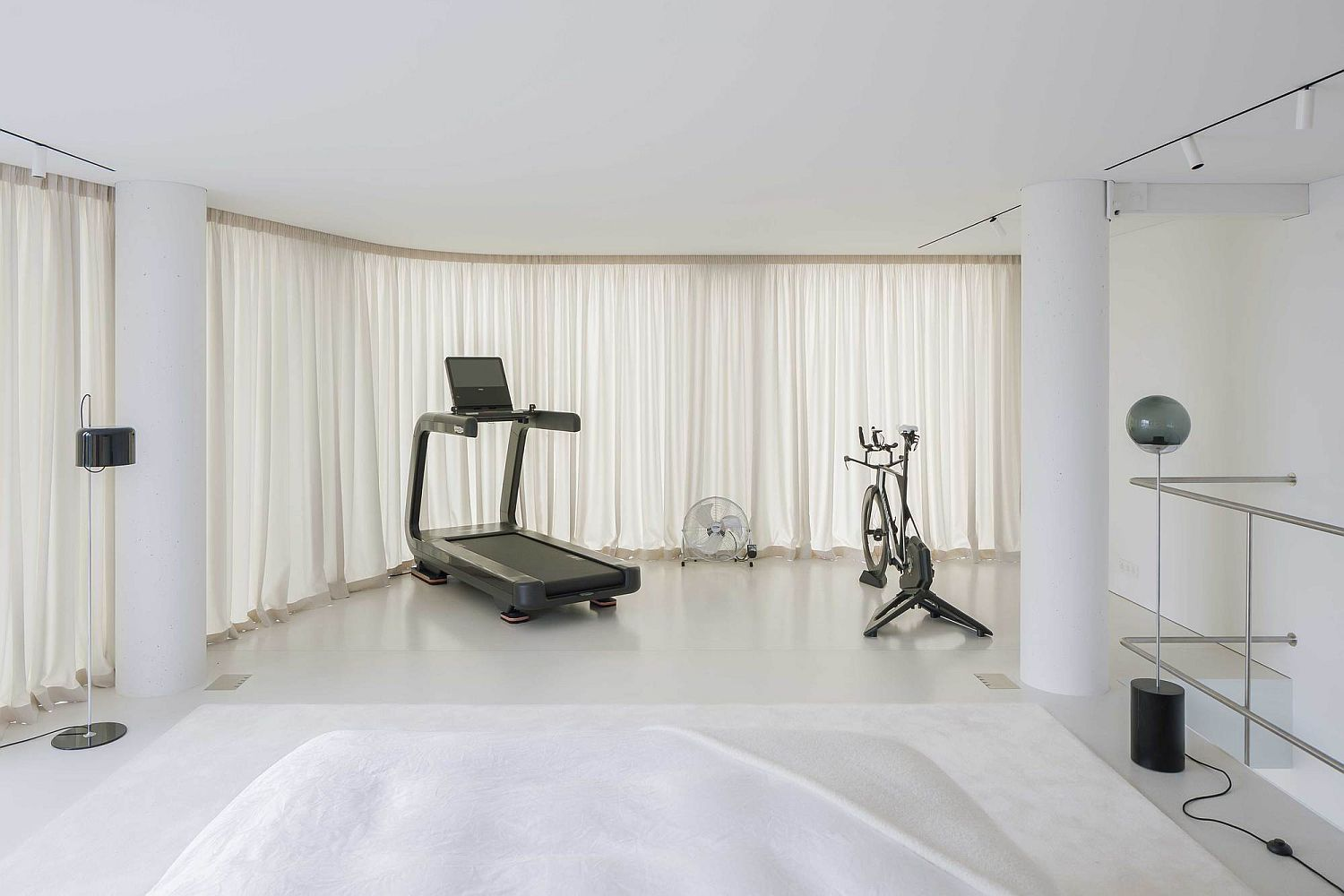 Upper level workout area with lovely view of the city outside