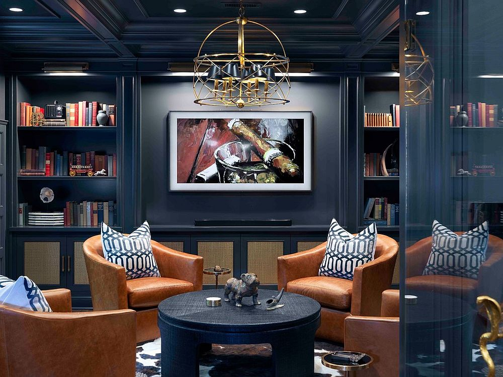 Basement turned into a man cave that is polished, well-lit and a touch timeless!