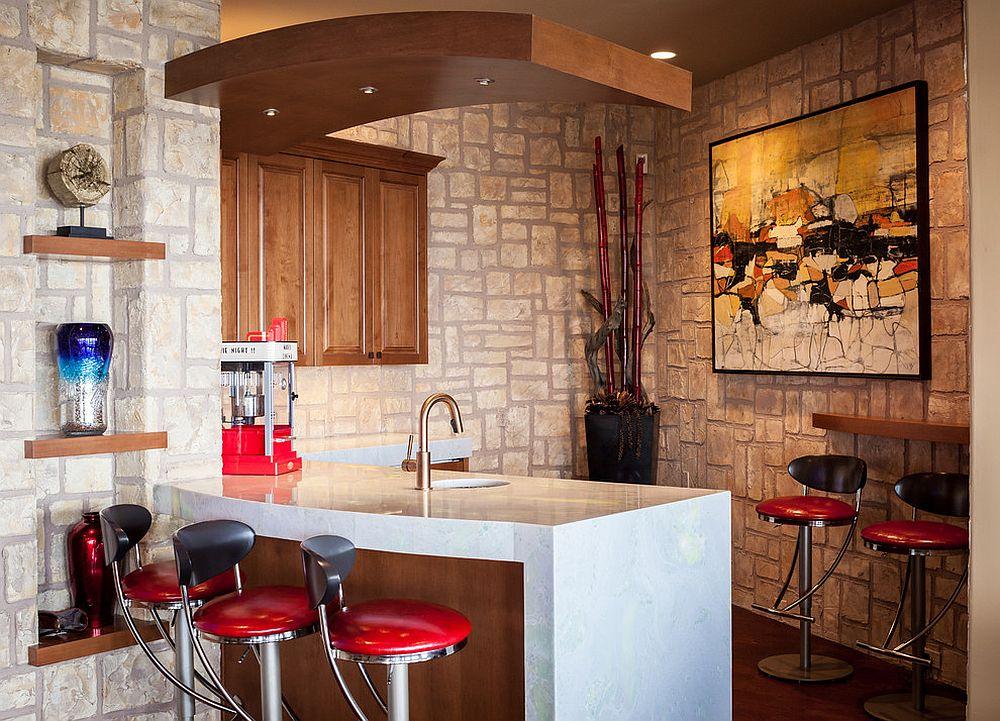 Corner home bar idea with modern Mediterranean style that feels casual
