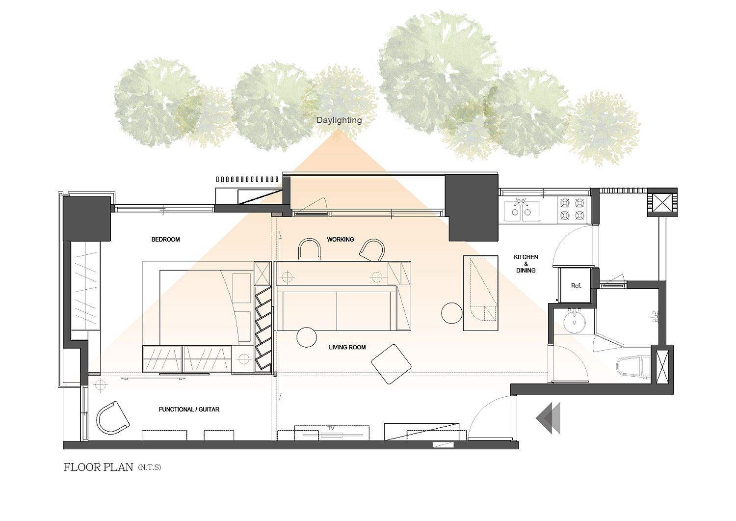 Floor plan of contemporary home in Taiwan inspired by classic Eichler homes