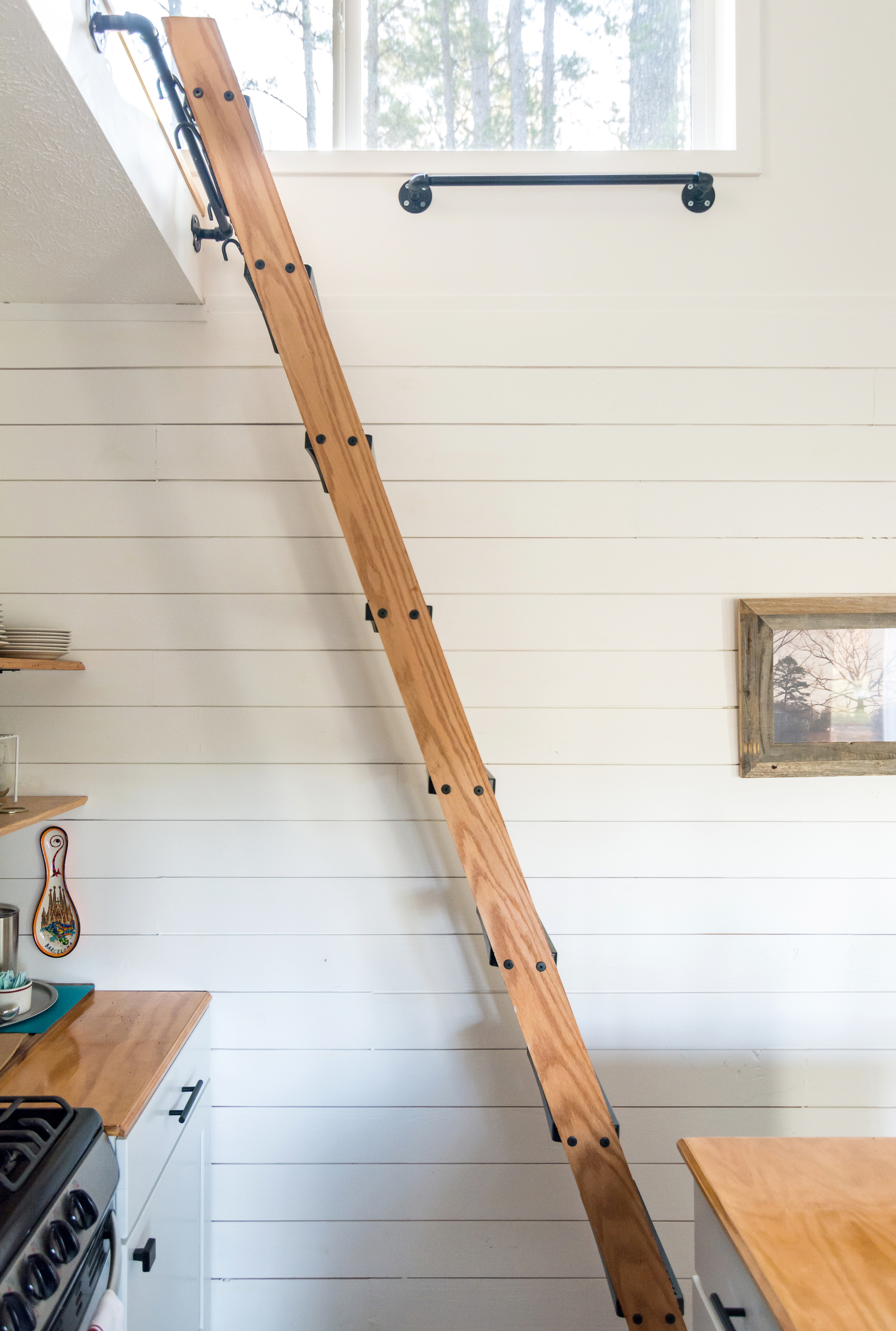 Ladder to access the upper level loft sleeping area