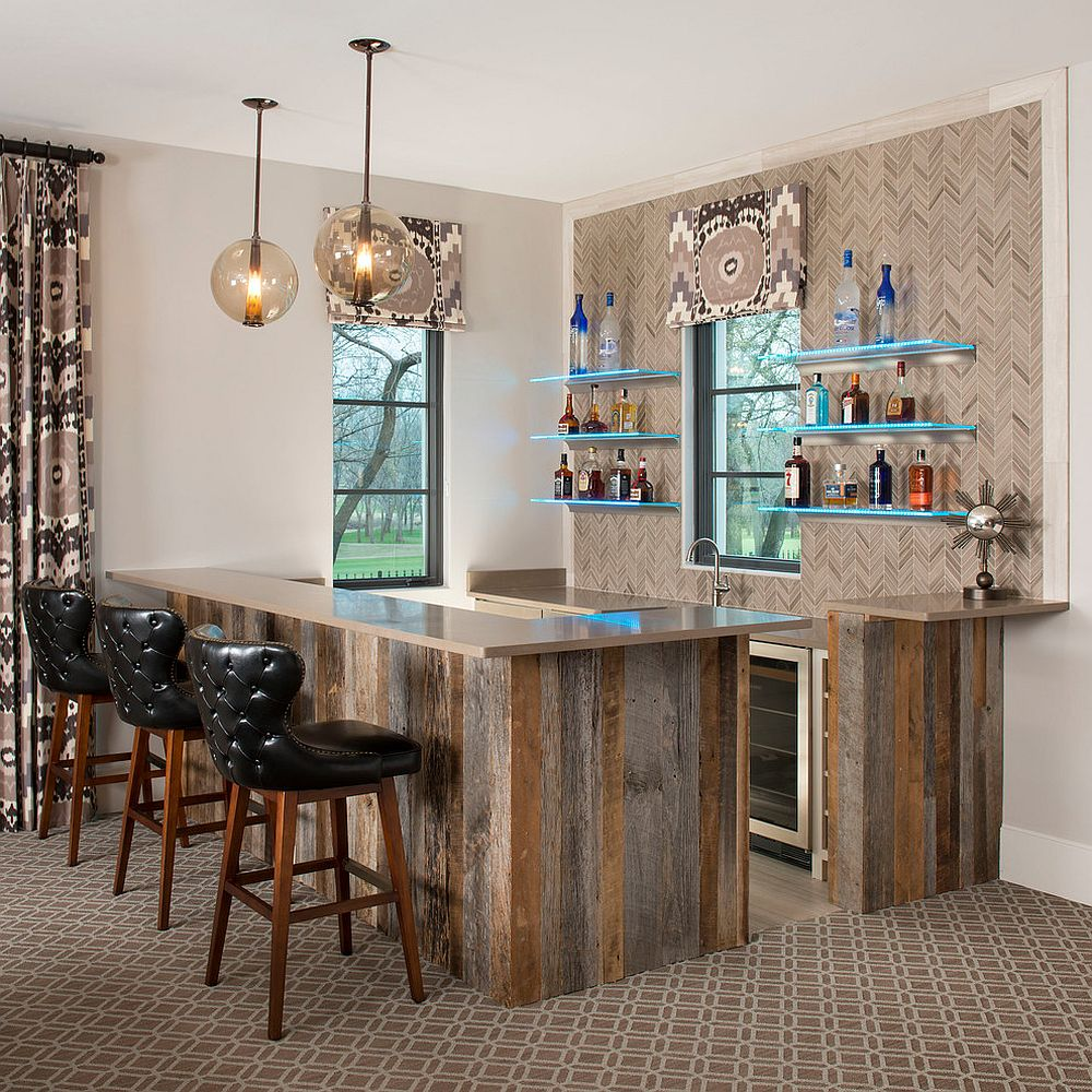 Smart and stylish home bar blends the old with the new in a seamless fashion
