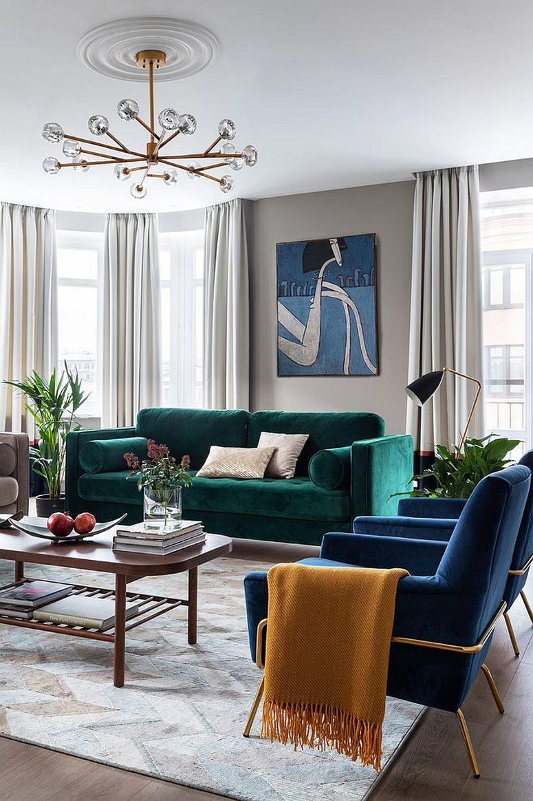 Bright emerald green sofa for the living room in white