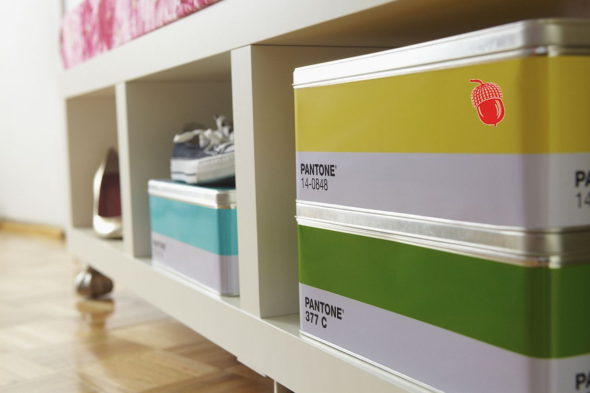 Using boxes and racks to create a snazzy shoe rack that is also contemporary
