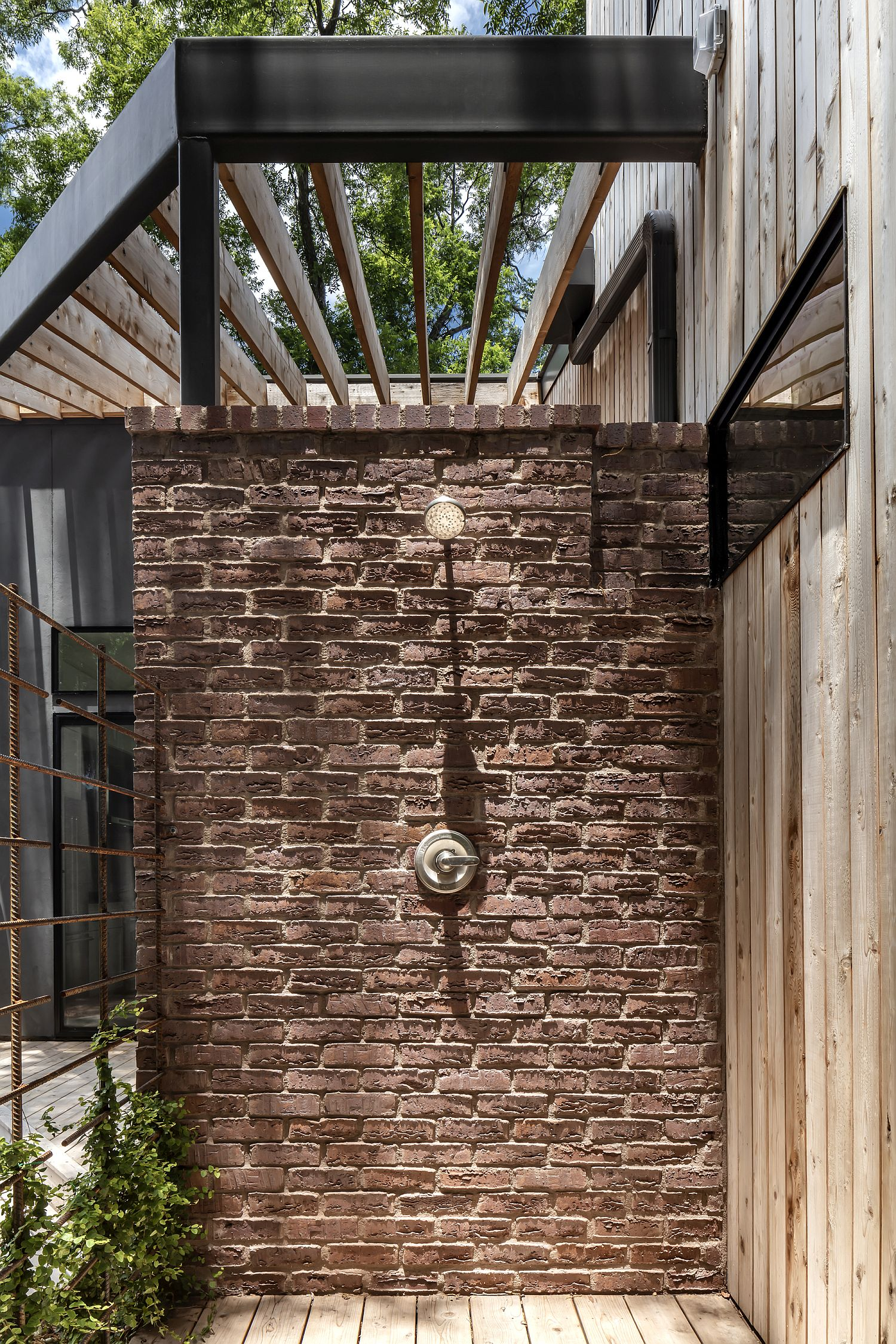 Brick wall sections of the house give it a timeless appeal