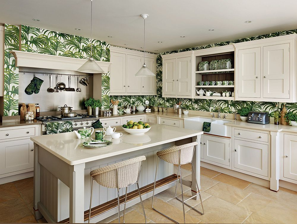 Fun use of green tropical style wallpaper in the white kitchen