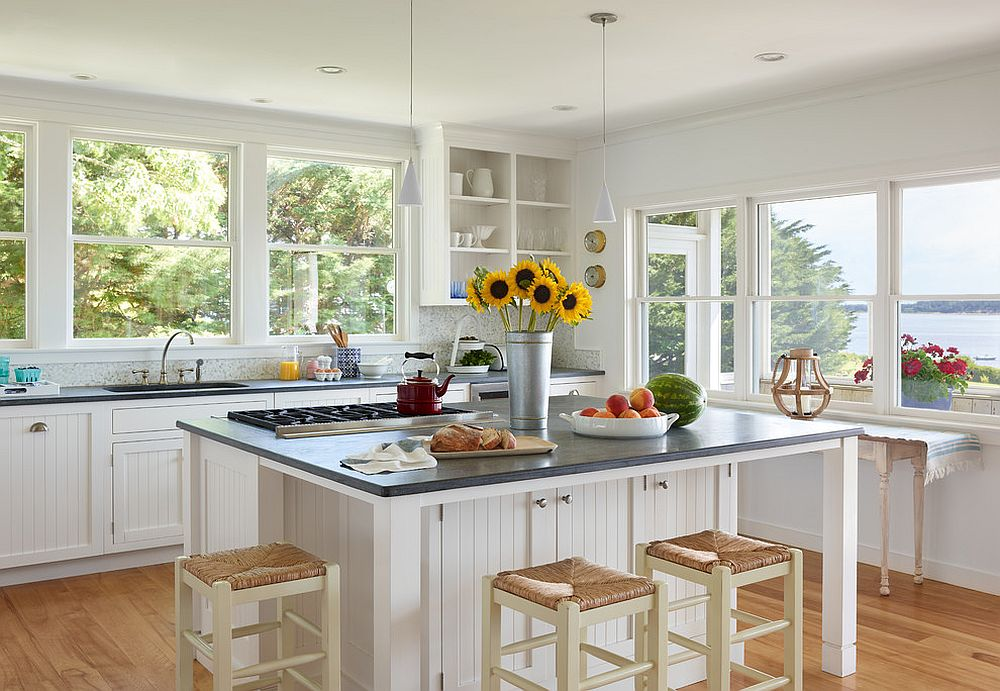 Modern beach style kitchen with lovely views and a bit of traditional appeal thrown in