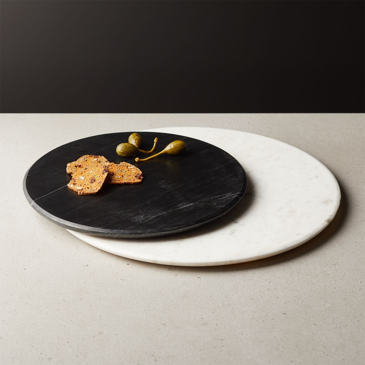 Round marble servers for fall entertaining
