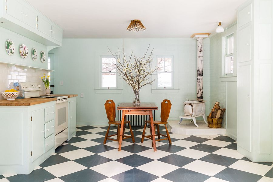 Shabby chic kitchen of New York home with a bit of vintage charm