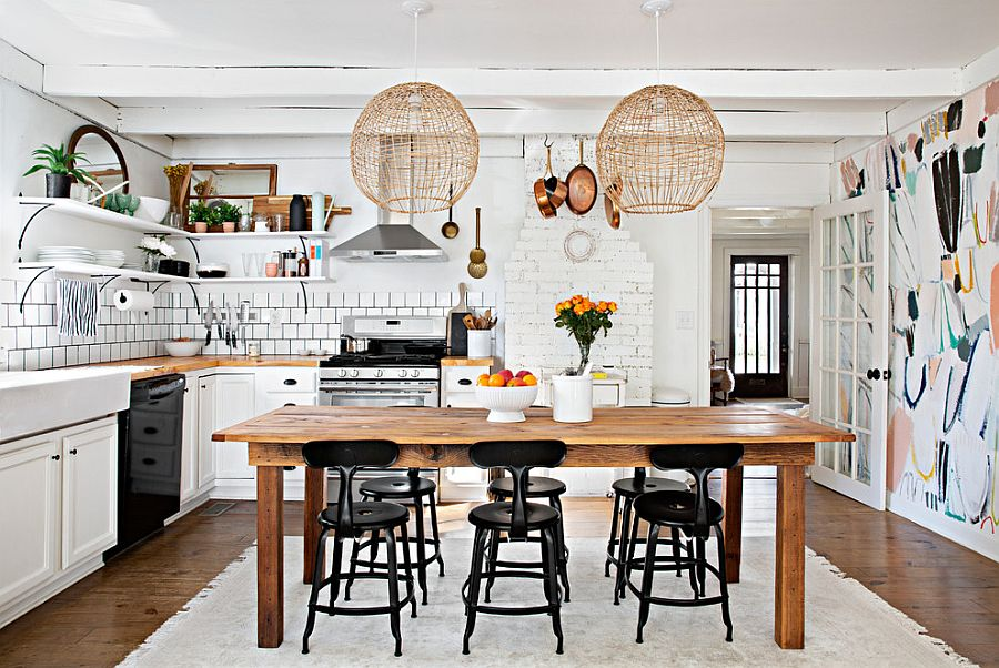 You have to admire the way black anchors this smart shabby-chic kitchen