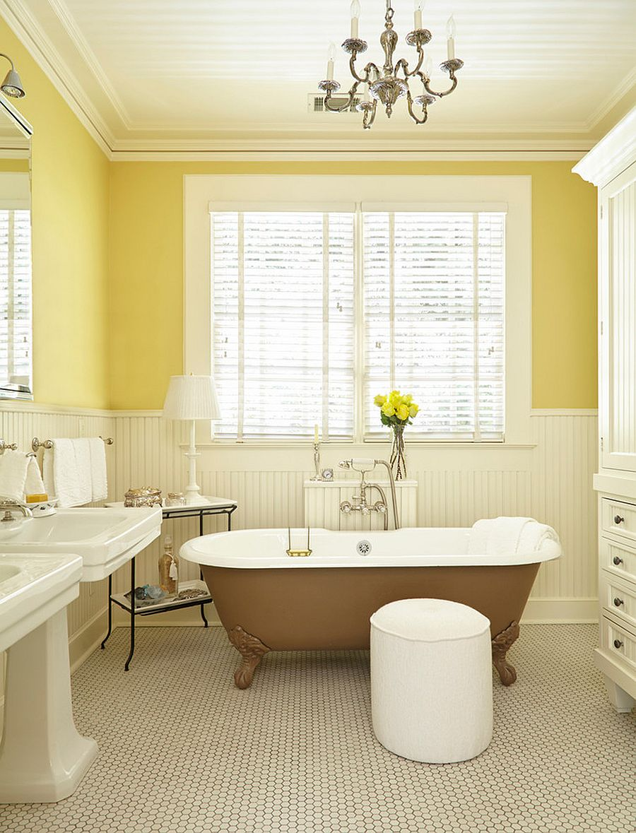 Beautiful and cozy bathroom in yellow and white with transitional style