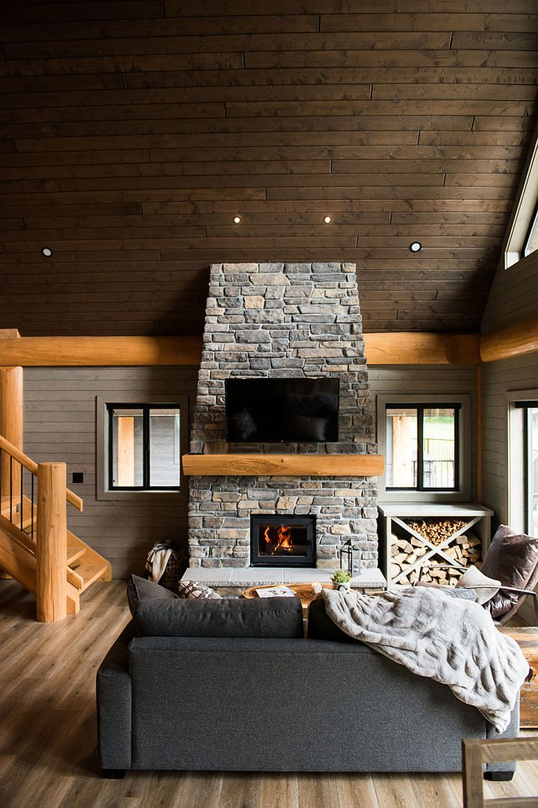 Beuatiful use of stone and wood in the spacious rustic living room