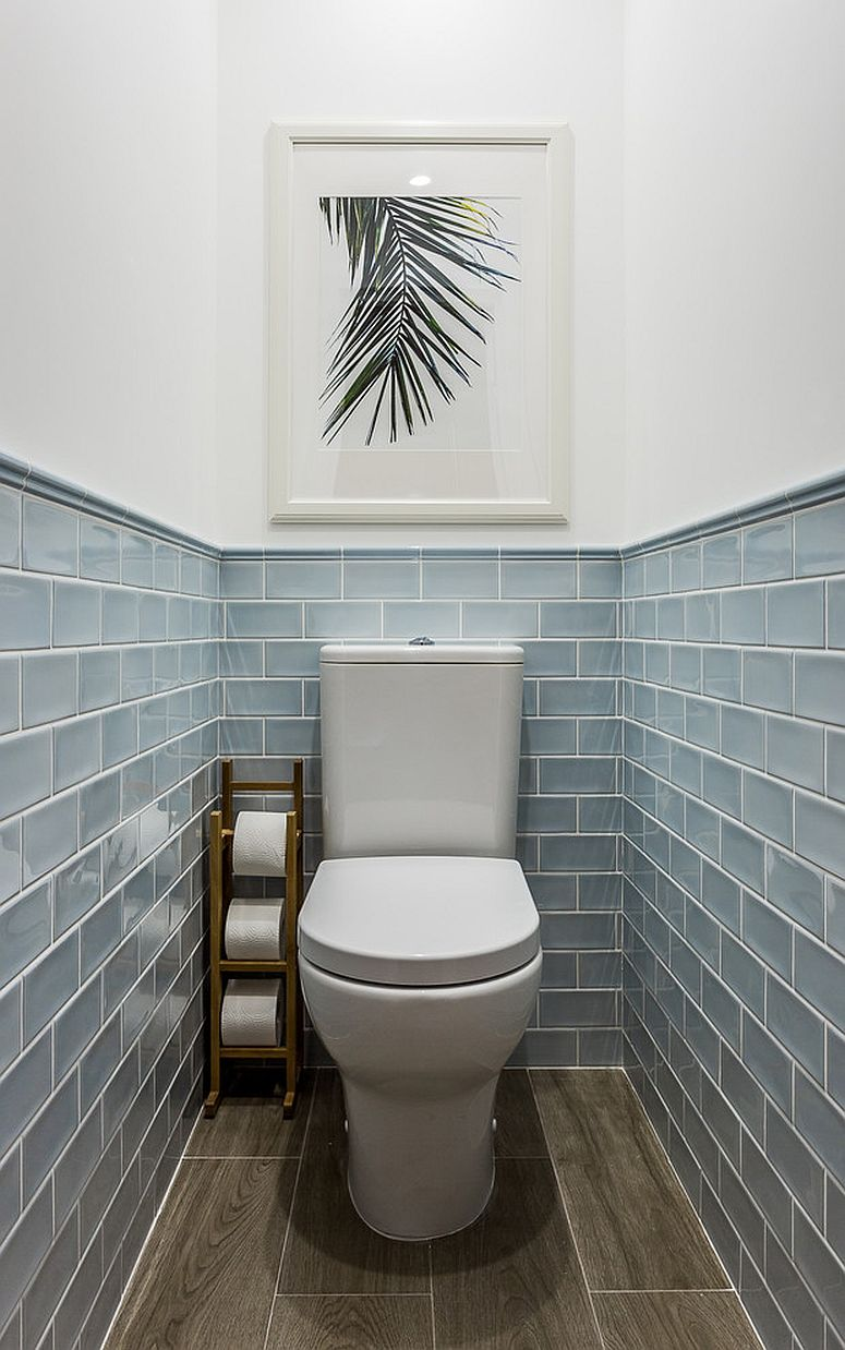 Bluish-gray tiles for the small coastal-themed powder room