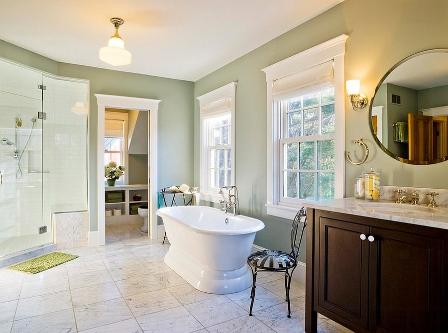 Combining green with the spa-inspired look in the bathroom