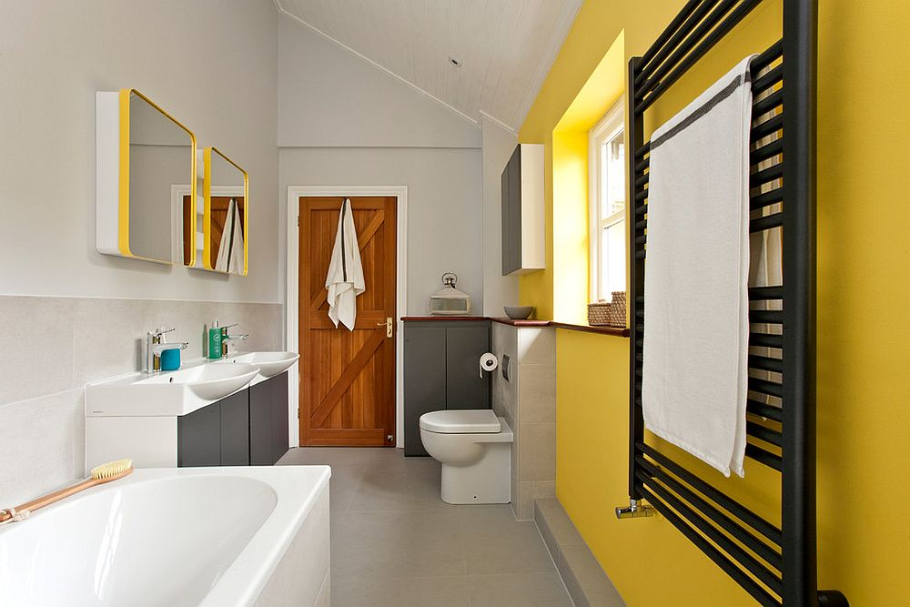 Gray and yellow bathroom is bound to stand the test of time
