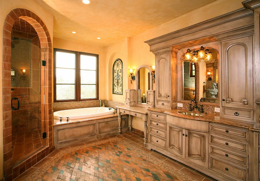 Large Mediterranean style bathroom with textured walls in orange