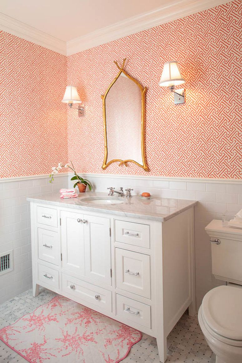 Pink powder room with geo style wallpaper