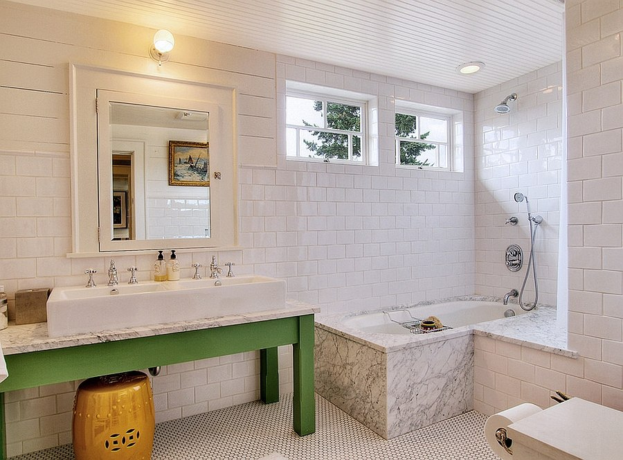 Simple and easy way to add green to the white bathroom using vanity